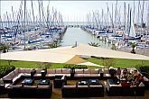 Café in Balatonkenese in Hotel Marina Port with a wonderful panoramic view to Lake Balaton and the yacht port